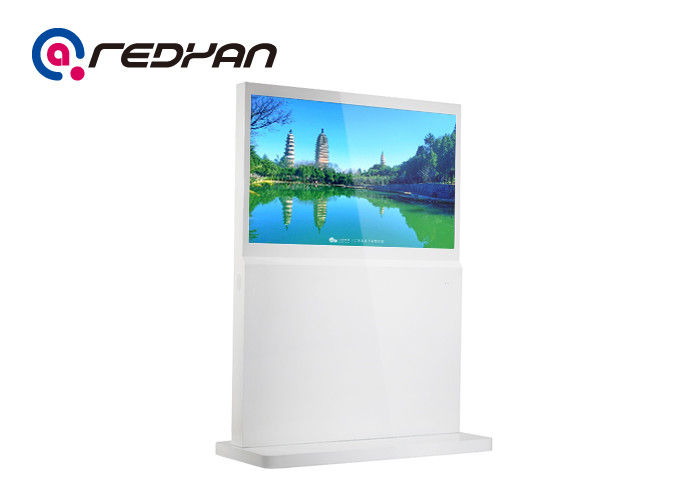 FHD LCD Totem Advertising Digital Signage Interactive Self Service Metal Tempered Glass