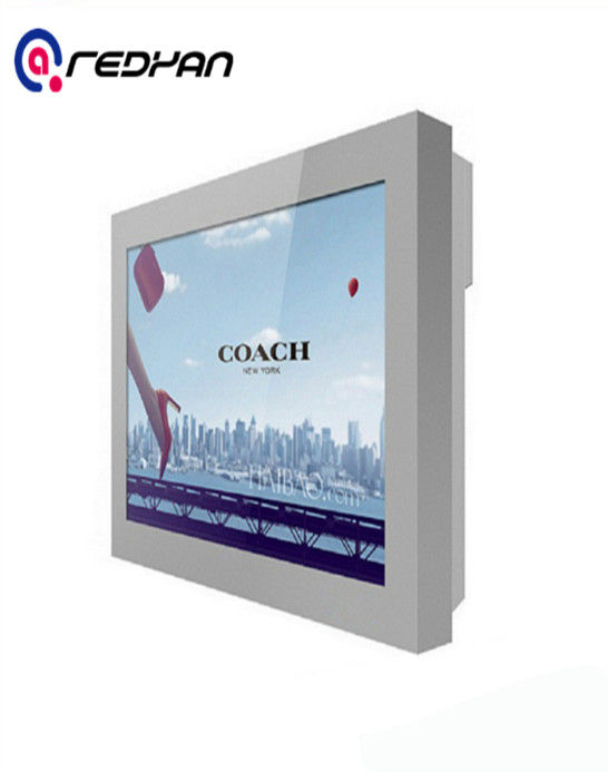 Wall Mount Outdoor Digital Signage DVI - D Interface Display in Open Space Railway Station