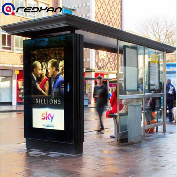 Bus Station Smart Outdoor Digital Signage Display with Roof 2000 nits Full High Definition 1080P