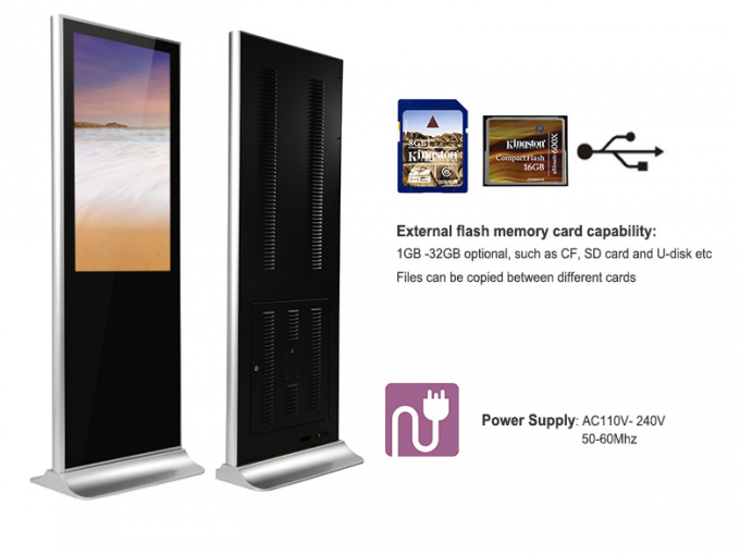 Double Sides Sunlight Readable Floor Standing Digital Signage Display 2000 Nits Brightness